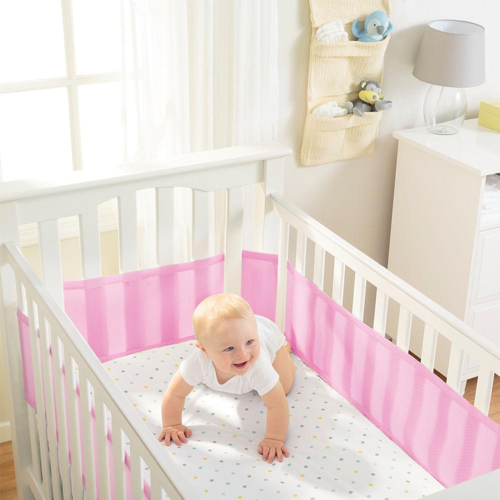 Protetor de Berço Breathable Baby Rosa