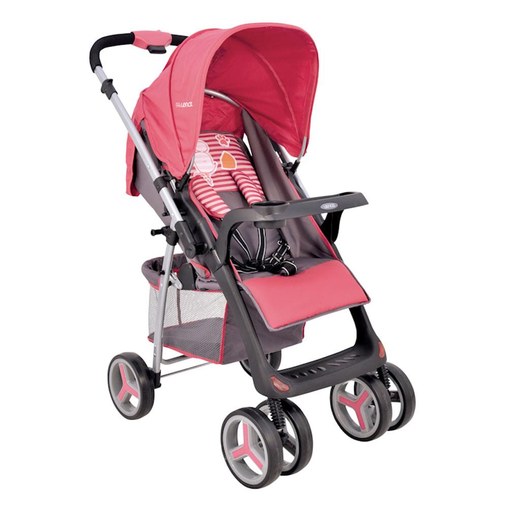 Carrinho de Bebê Zap Reversível 3 Posições Berço e Passeio Rosa Lenox Kiddo