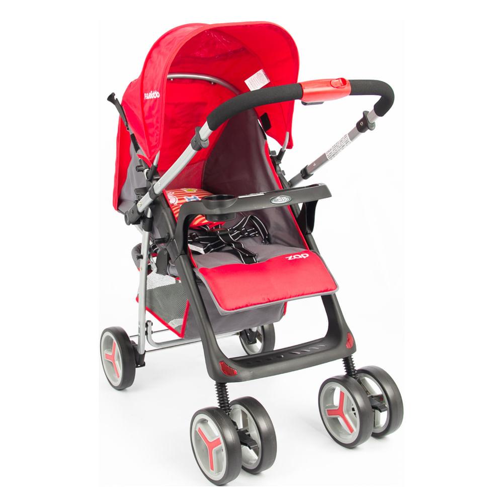 Carrinho de Bebê Zap Reversível 3 Posições Berço e Passeio Vermelho Lenox Kiddo
