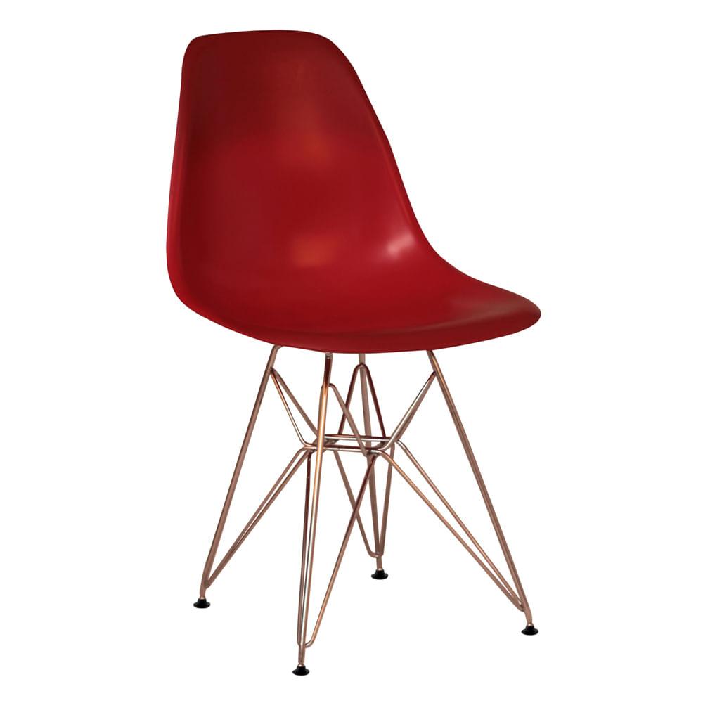 Cadeira Eiffel PP Pés Cromados Vermelha