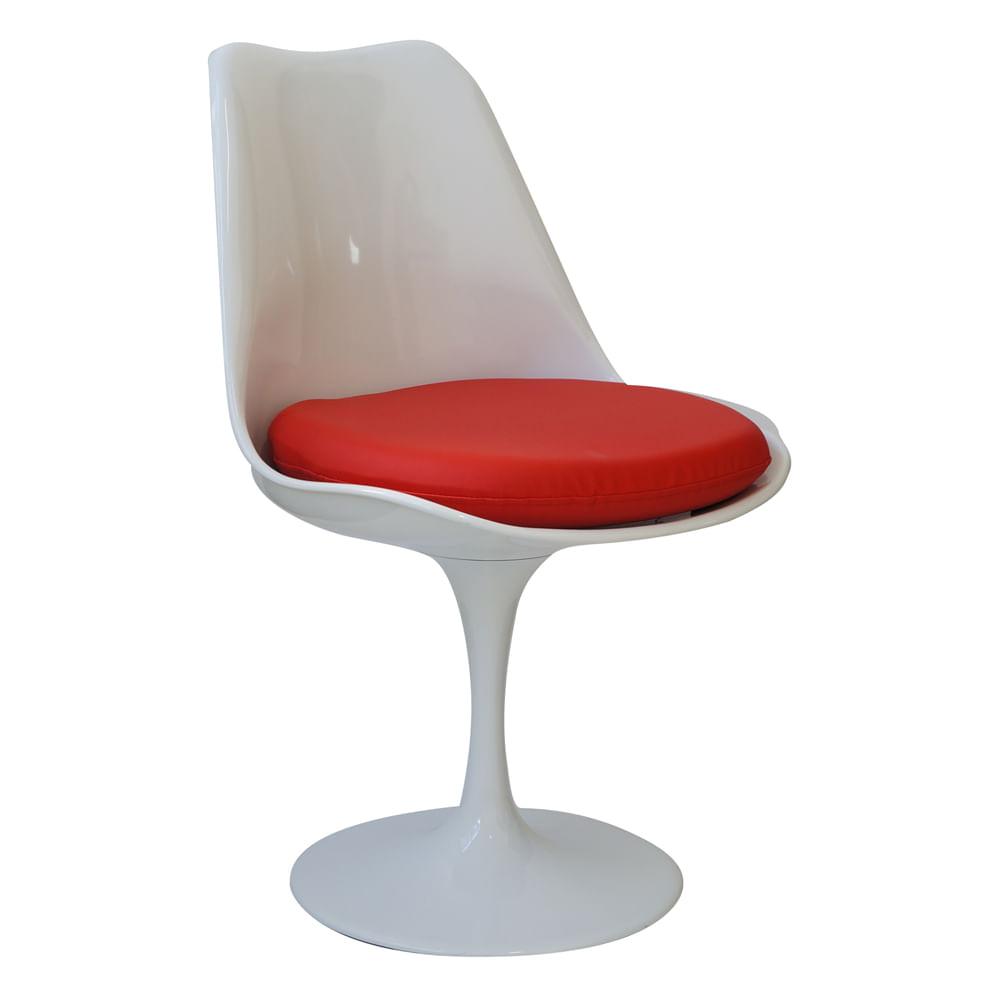 Cadeira Saarinen Sem Braco Branca Com Almofa da Vermelha - Or 1129