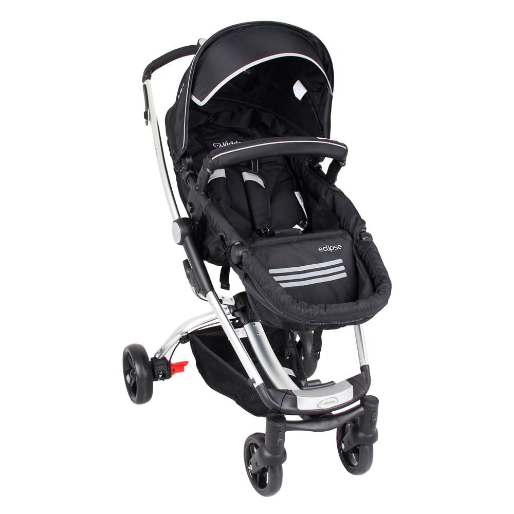Carrinho de Bebê Eclipse 3 Posições Alumínio Preto Lenox Kiddo