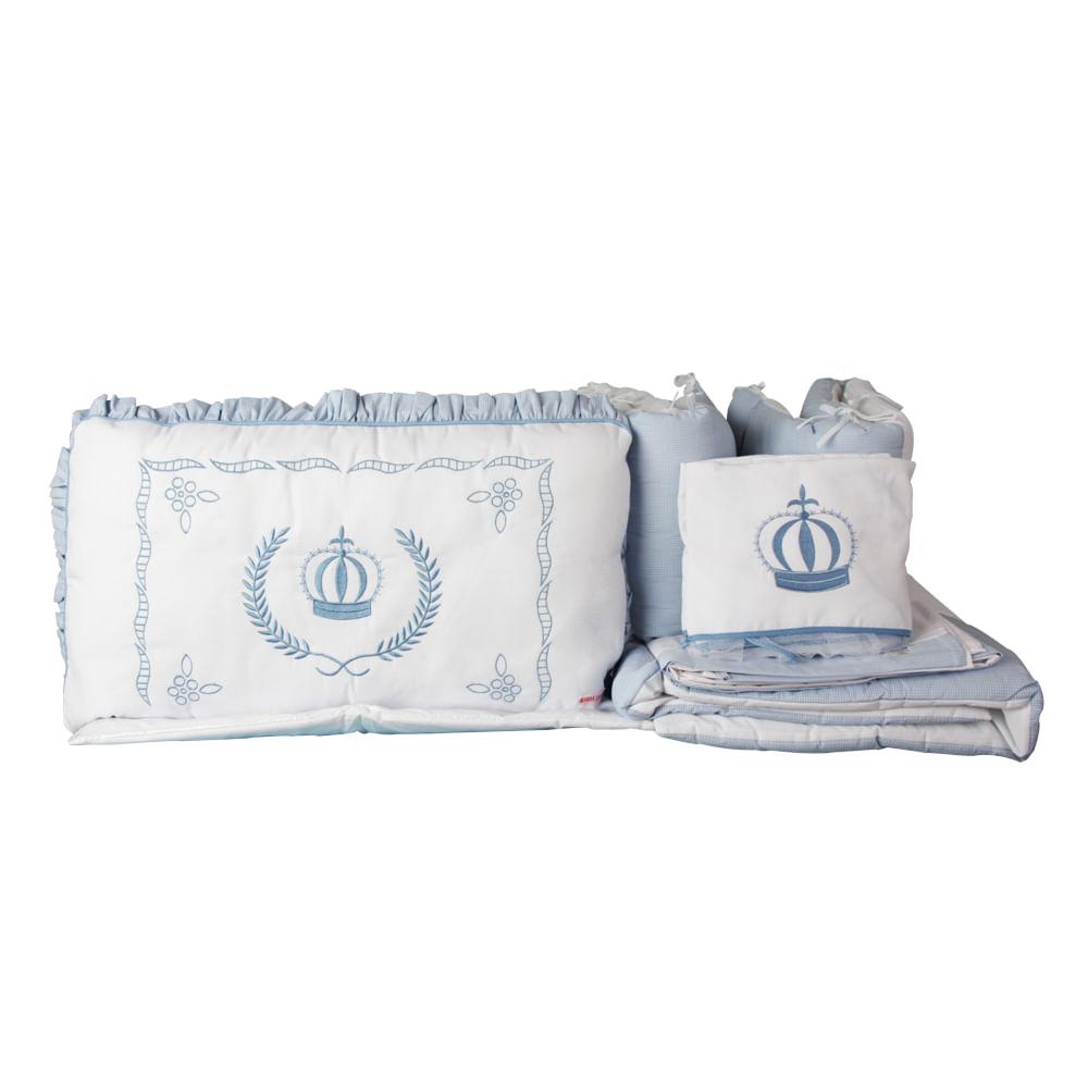 Kit Berço - Enxoval de Bebê Imperial Azul 9 Peças 100% Algodão