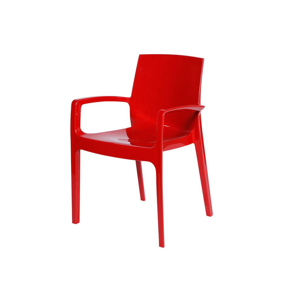 Cadeira Femme com Braço Vermelho - Cream