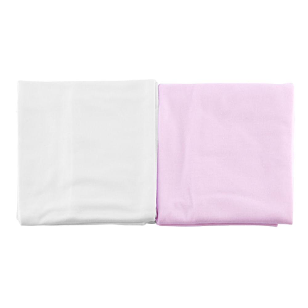 Kit Fronha 2 Peças Junior Rosa e Branco 100% Algodão