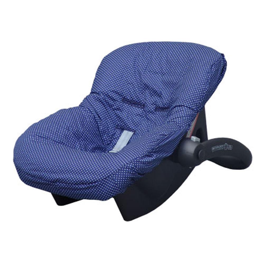 Capa para Bebê Conforto Azul Marinho com Poá