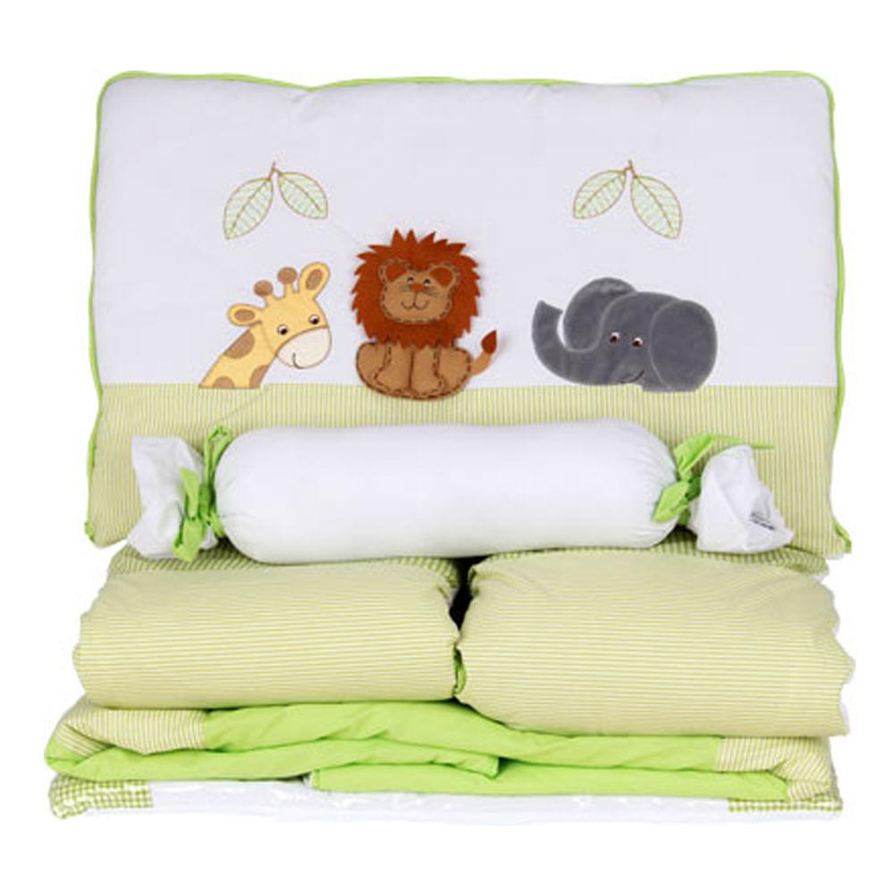 Kit Berço - Enxoval de Bebê Bichinhos Verde 10 Peças 100% Algodão