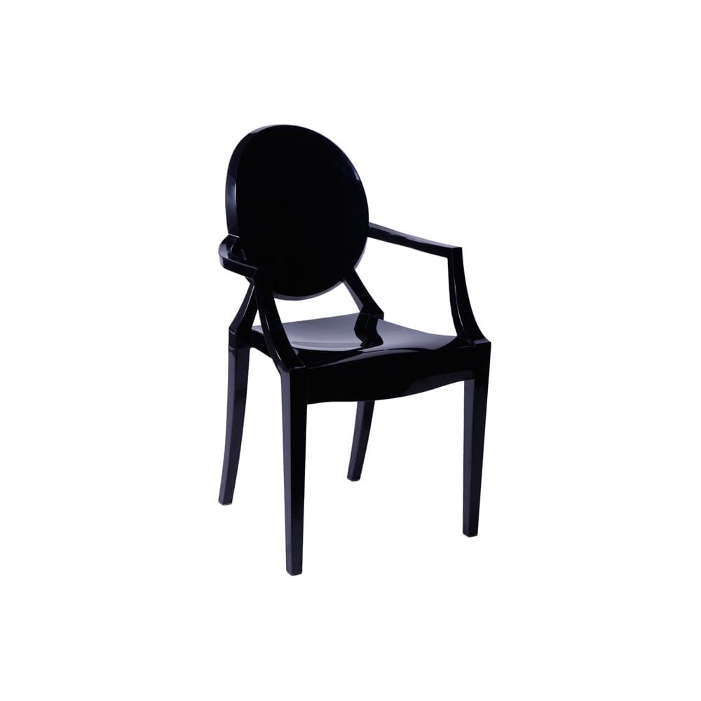 Cadeira Invisible com Braço Preto