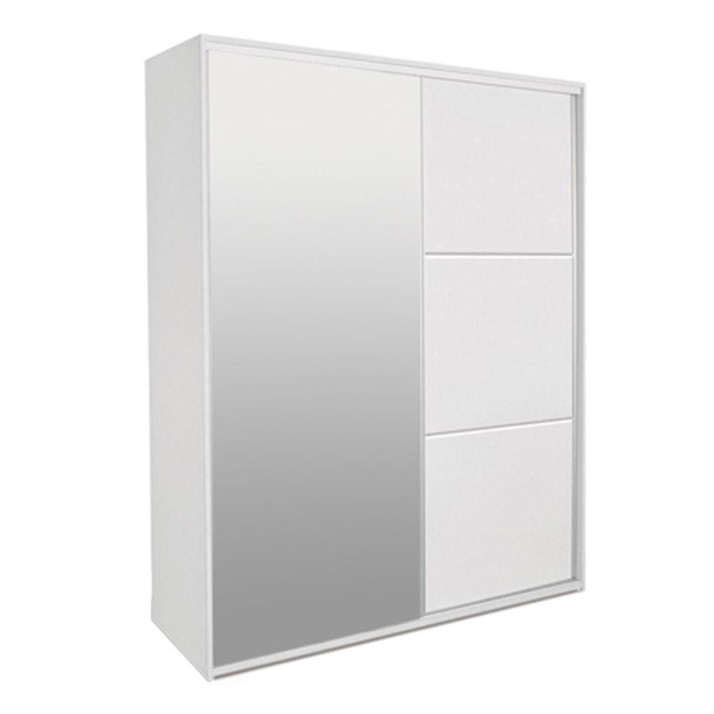 Armário Milano 1 Porta Deslizantes Branco Fosco com 1 porta de espelho e 3 Gavetas