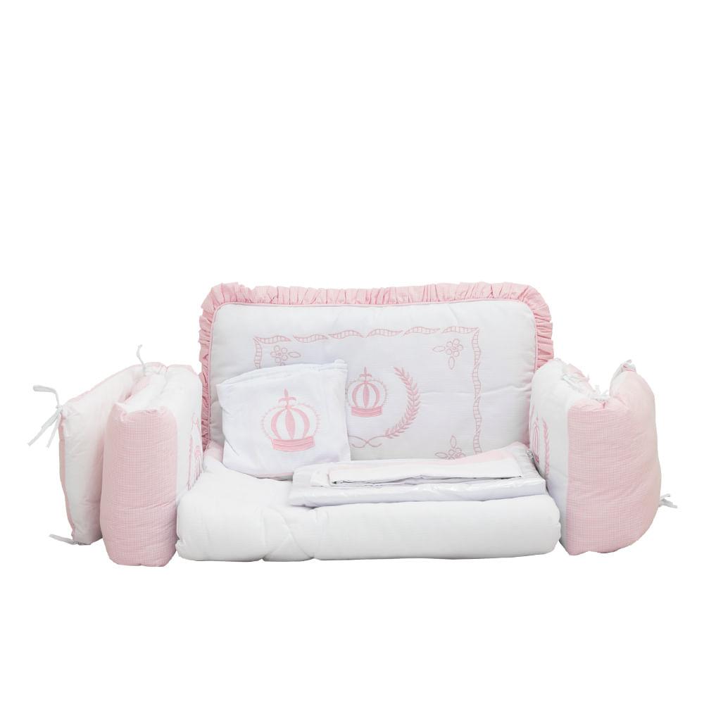 Kit Berço Imperial Rosa 9 Pçs 100% Algodão