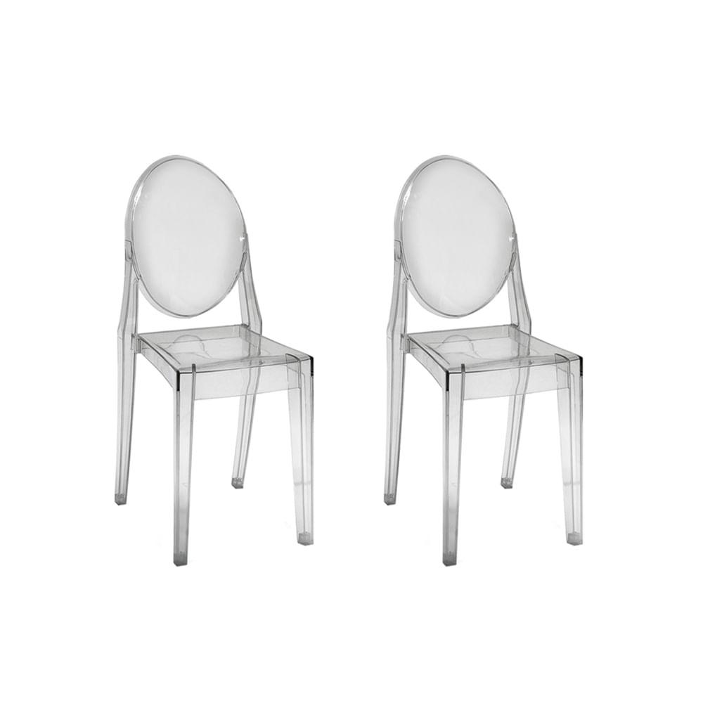 Kit com 2 Cadeiras Invisible sem Braço Transparente