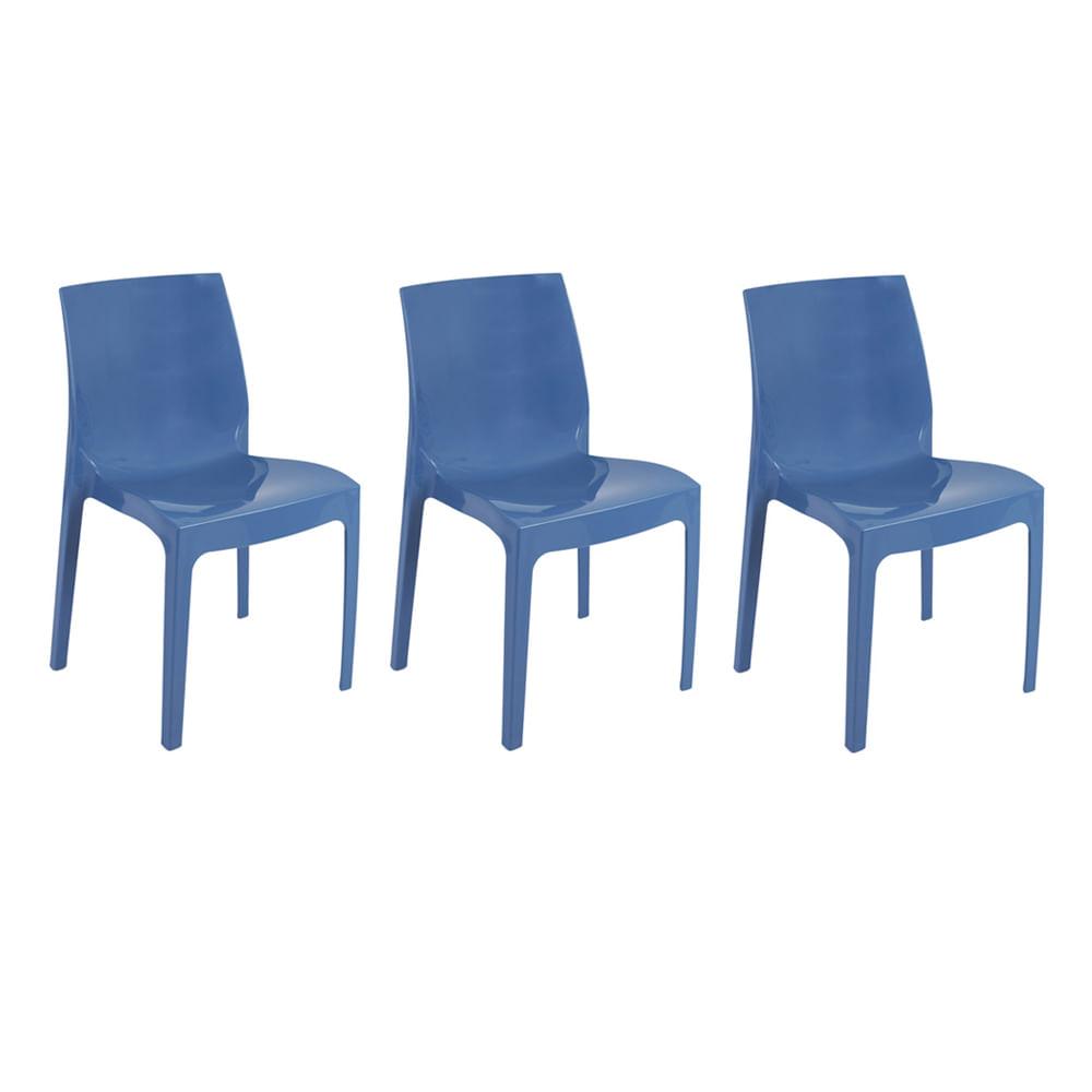 Kit com 3 Cadeiras Femme Azul