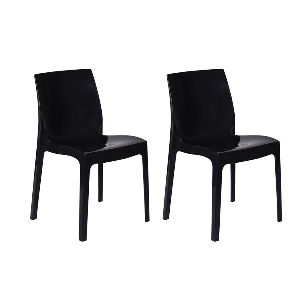 Kit com 2 Cadeiras Femme Preta
