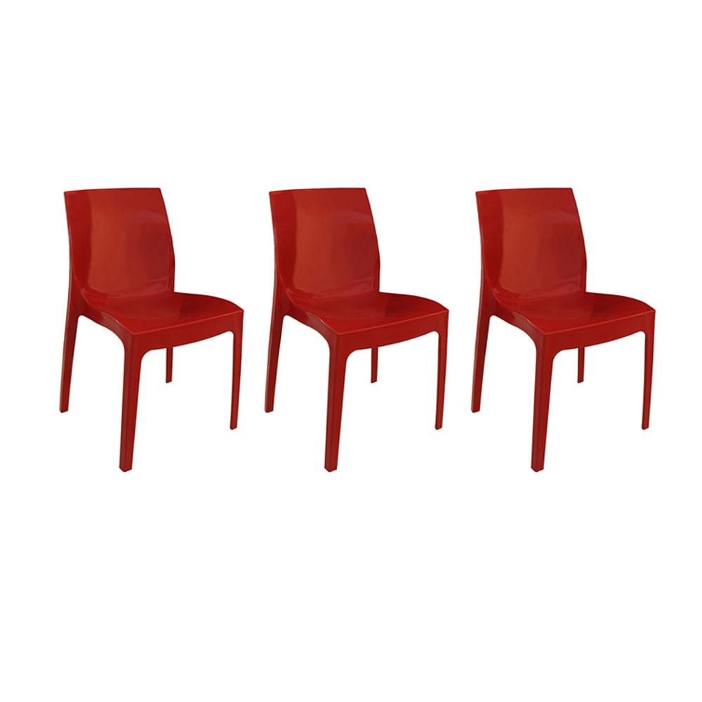 Kit com 3 Cadeiras Femme Vermelha