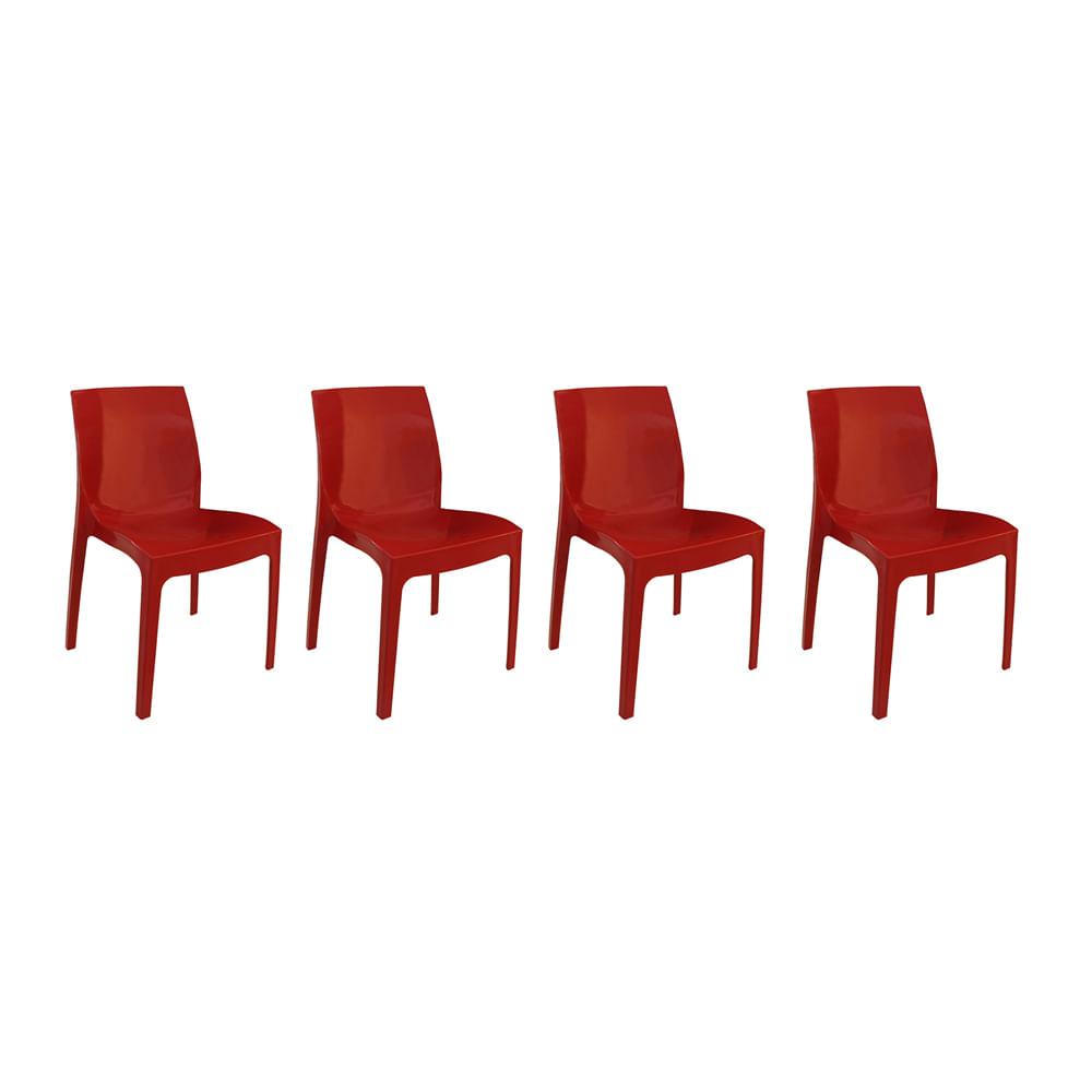 Kit com 4 Cadeiras Femme Vermelha