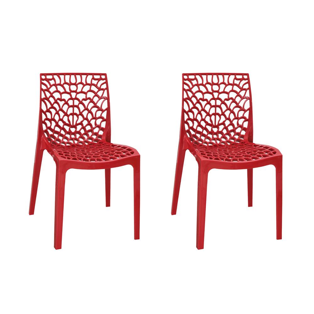 Kit com 2 Cadeiras Gruvyer Vermelha
