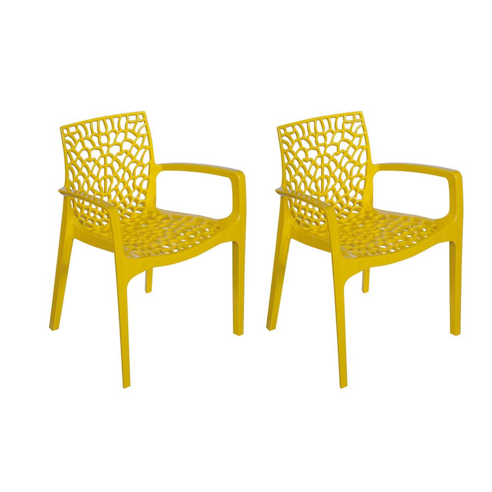 Kit com 2 Cadeiras Gruvyer Com Braço Amarela