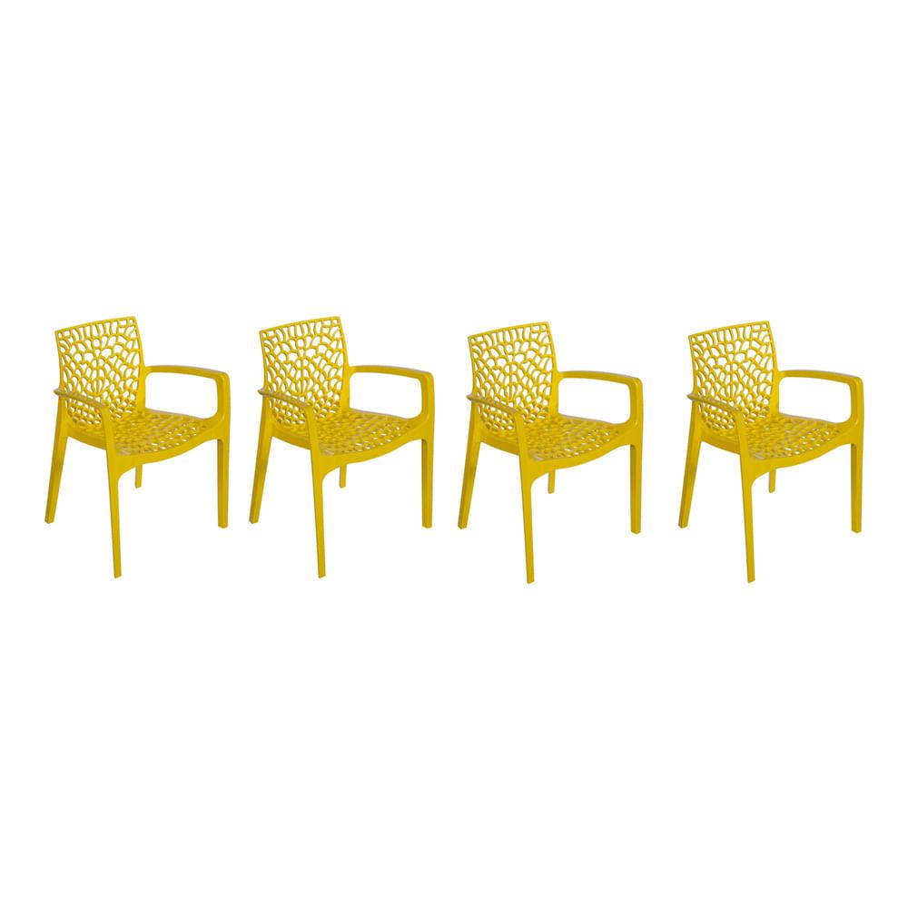 Kit com 4 Cadeiras Gruvyer Com Braço Amarela