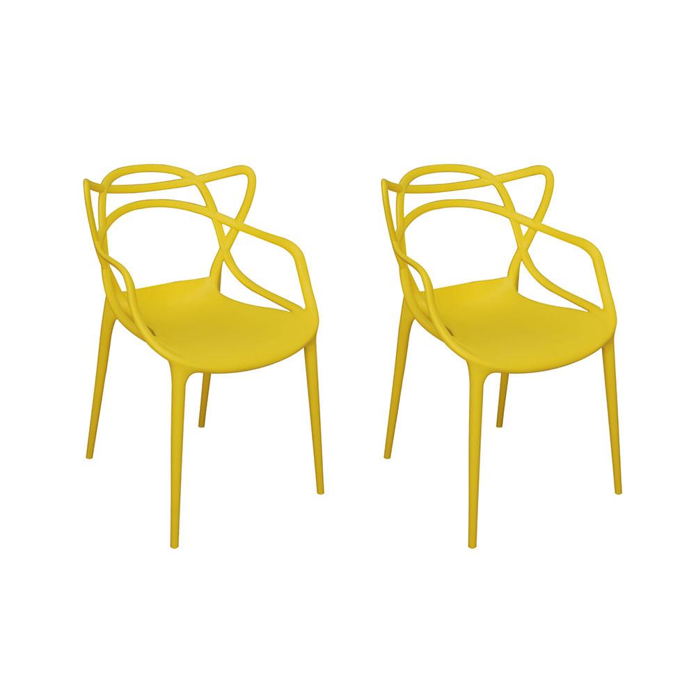 Kit com 2 Cadeiras Allegra Amarelo