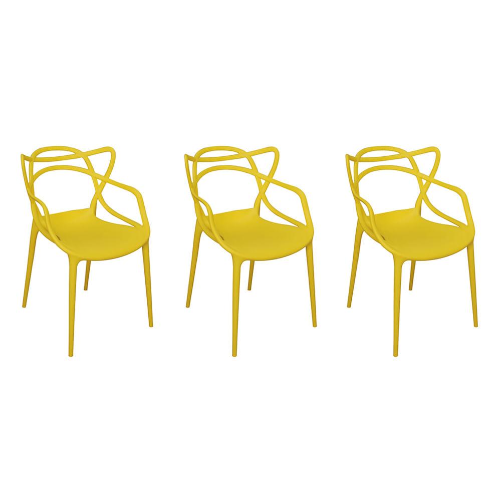 Kit com 3 Cadeiras Allegra Amarelo