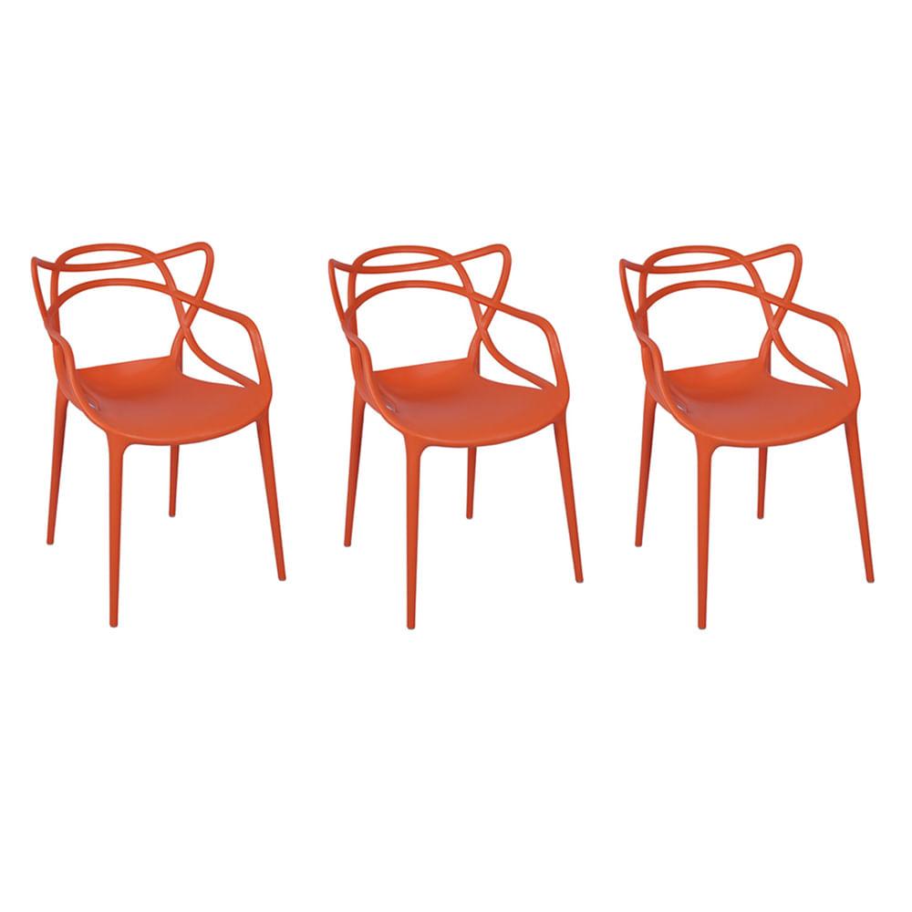 Kit com 3 Cadeiras Allegra Laranja