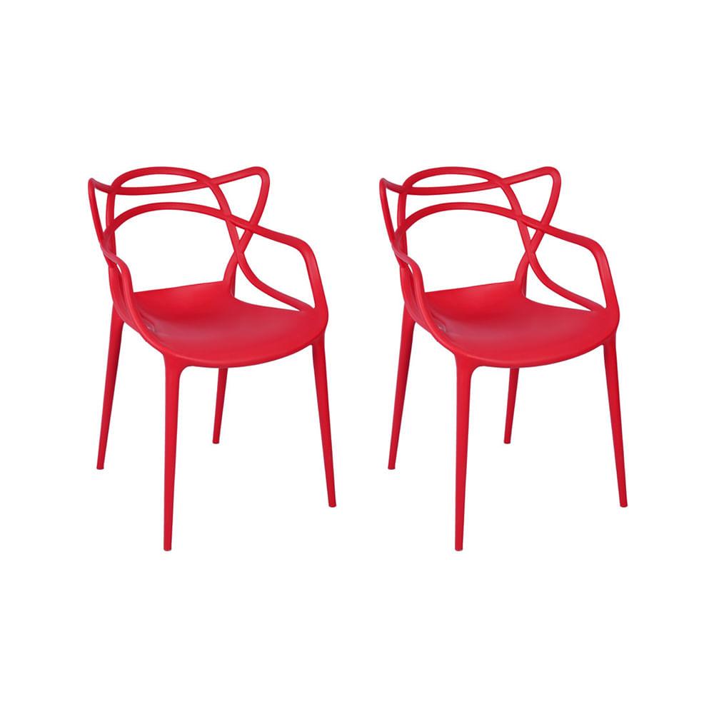 Kit com 2 Cadeiras Allegra Vermelha
