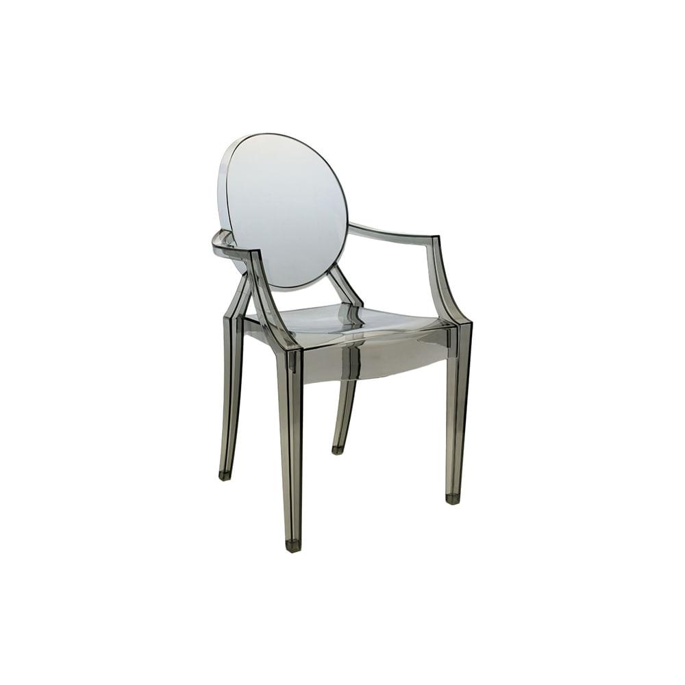 Cadeira Invisible Com Braço Fume - Or 1106