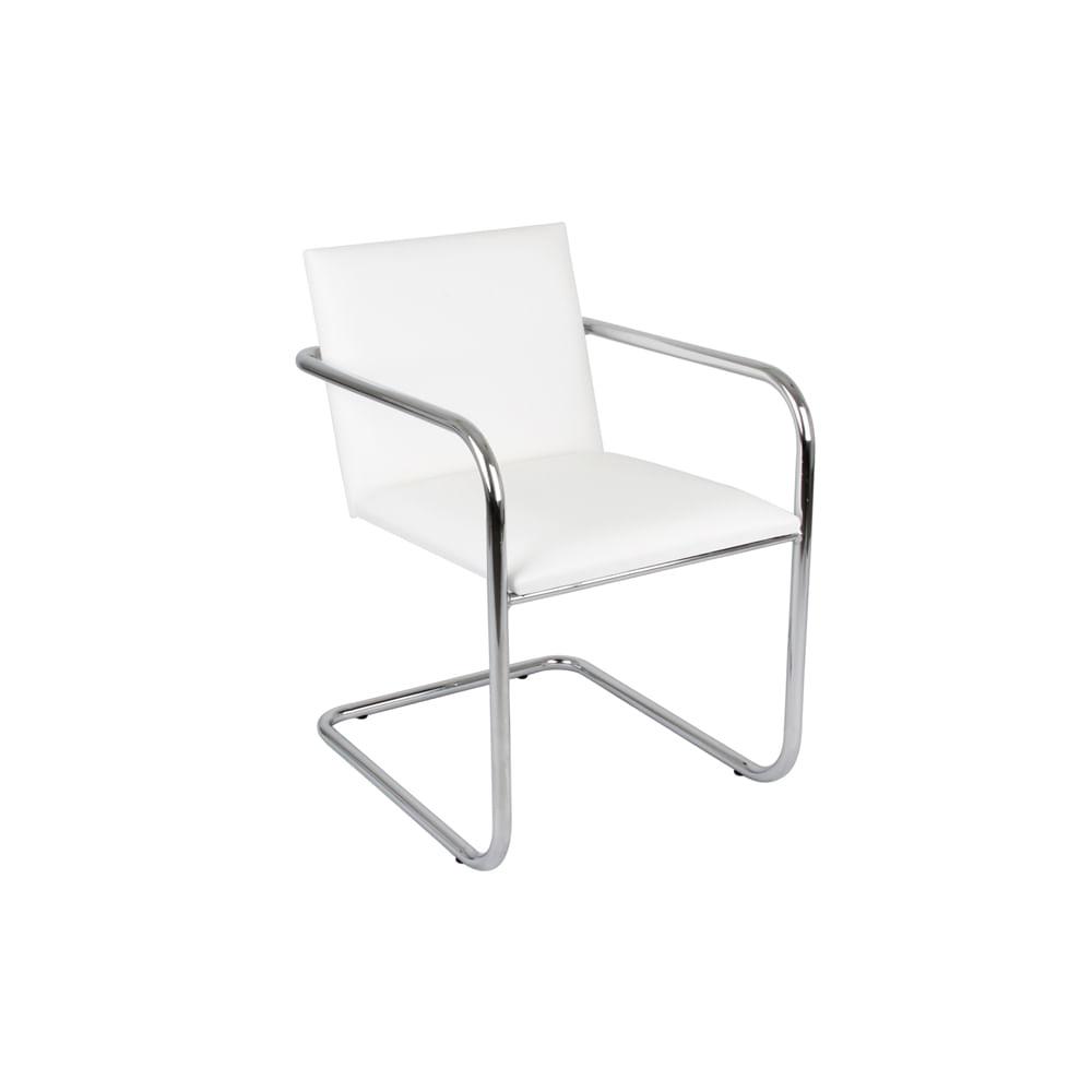 Cadeira Brno Cromada Courino Branco