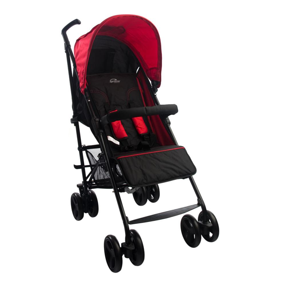 Carrinho de Bebê Alumínio Sprinter 4 Posições Preto e Vermelho Burigotto