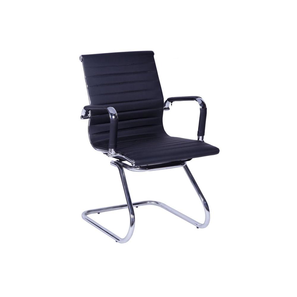 Cadeira Madrid Fixa Cromada Preto - Or 3301