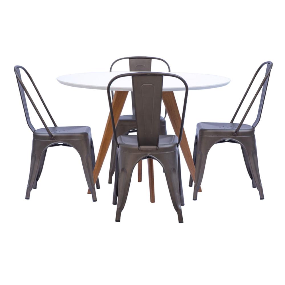 Mesa de Jantar Square Redonda Branco Fosco 88cm + 4 Cadeiras Tolix Ferrugem Vintage