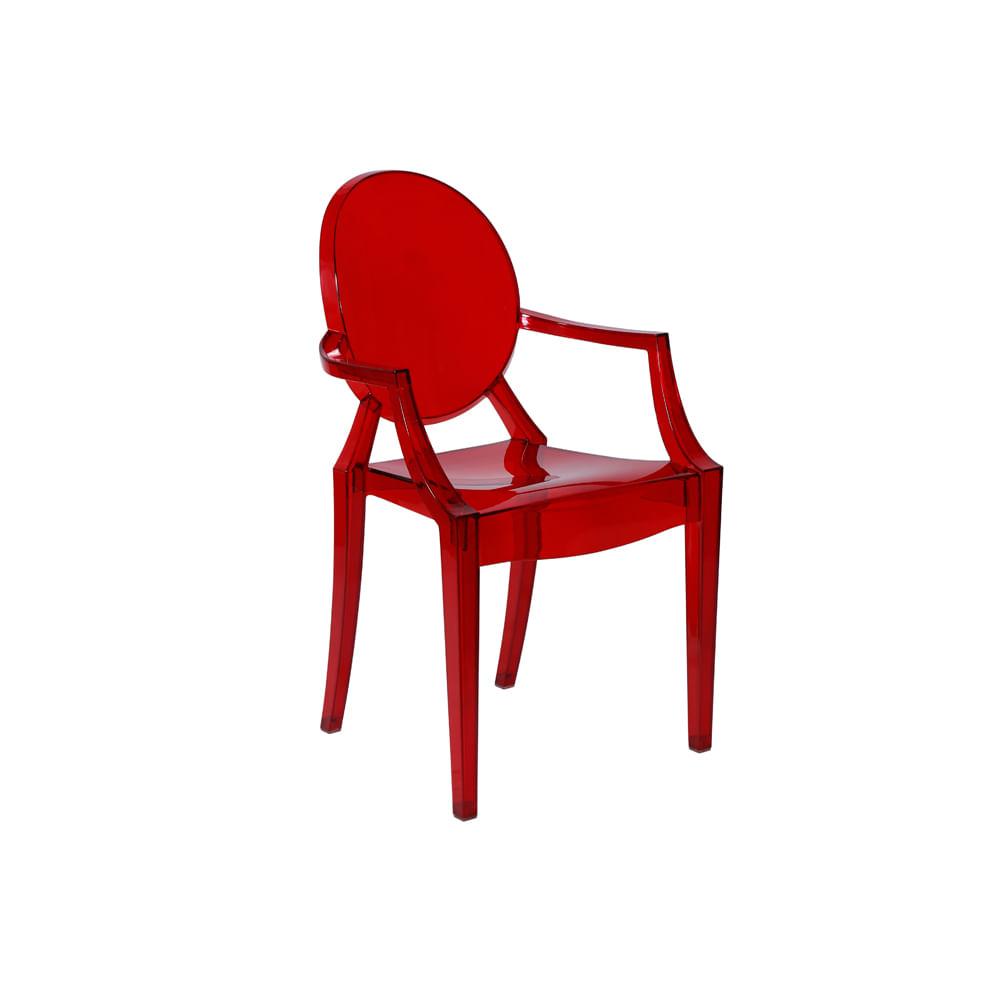 Cadeira Invisible Com Braço Vermelho - Or 1106