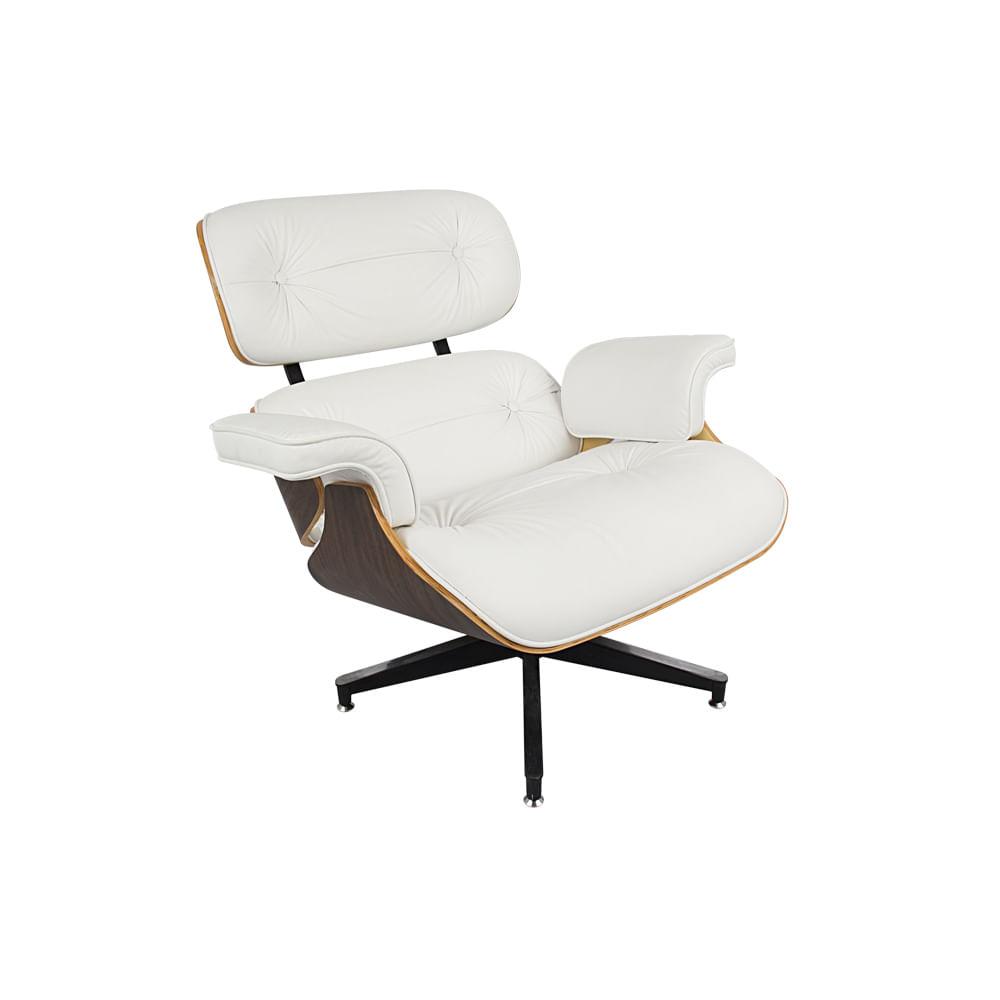 Poltrona Charles Eames Couro Natural Branca