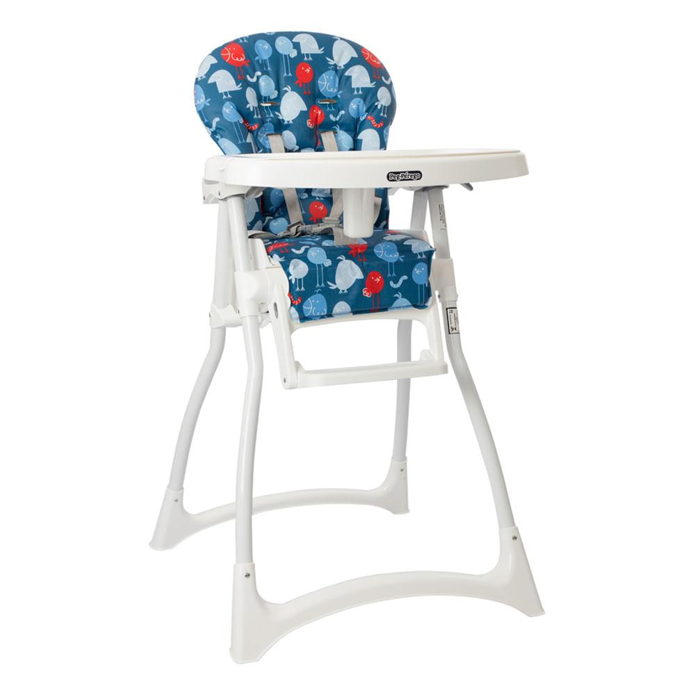 Cadeira Refeição com Encosto 4 Posições Merenda Passarinho Azul Burigotto