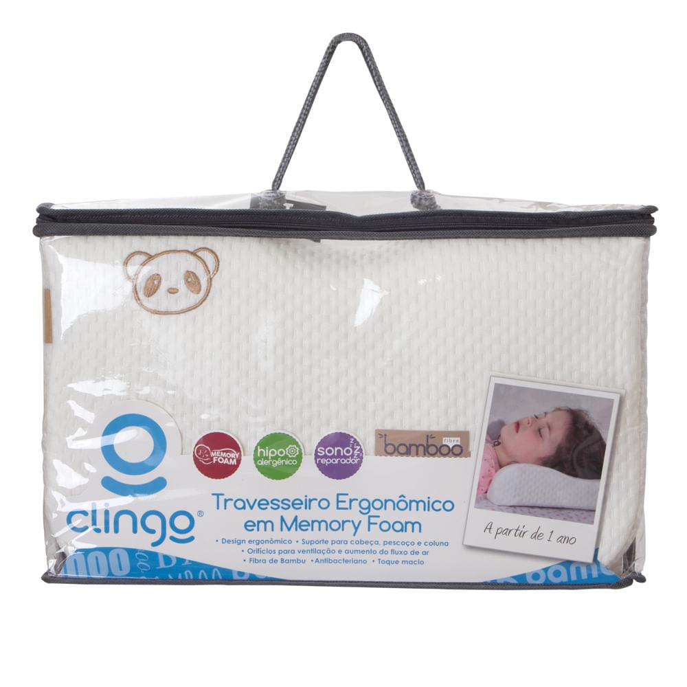 Travesseiro Ergonomico em Memory Foam Fibra de Bambu Clingo