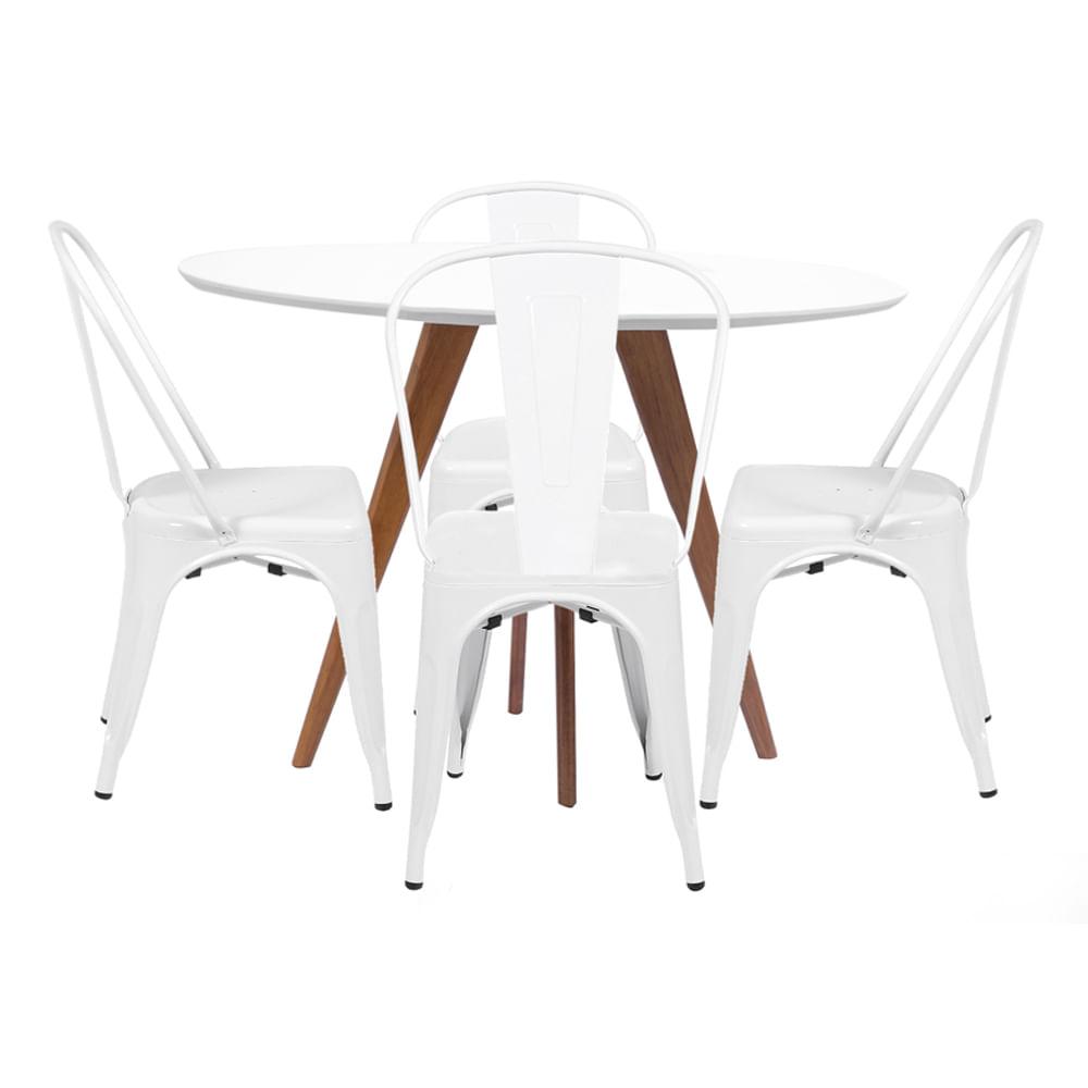 Mesa de Jantar Square Redonda Branco Fosco 88cm + 4 Cadeiras Tolix Branca Nova Versão