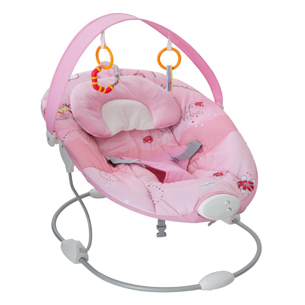 Cadeira Descanso Sonequinha Rosa 3 Sons Natureza 5 Melodias e Vibração Relaxante