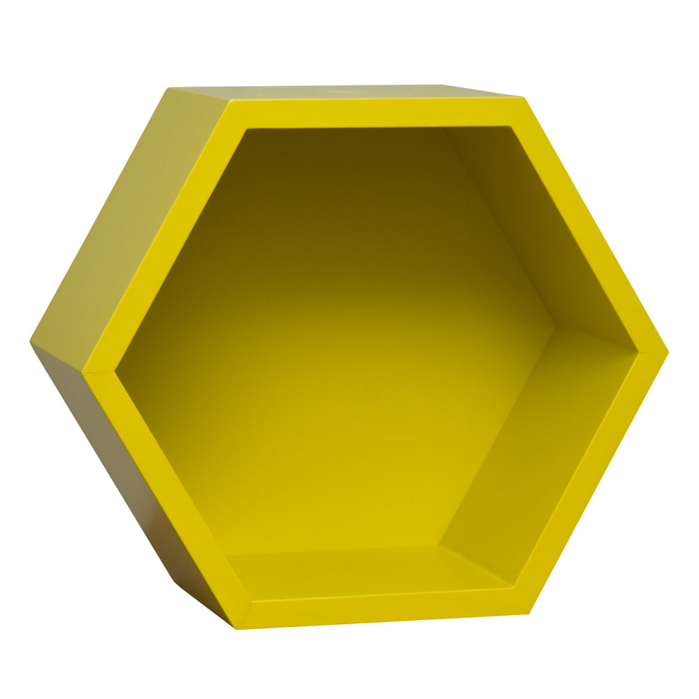 Prateleira Hexagono Amarelo Fosco (28cm x 32cm x 15cm)