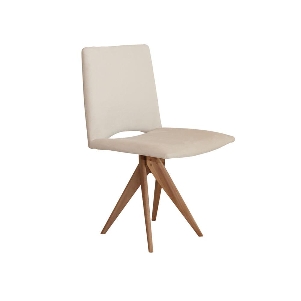Cadeira Samba com Base de Madeira Bege - Cadeira Samba Bege Base Madeira Fixa Nova Versão Tecido