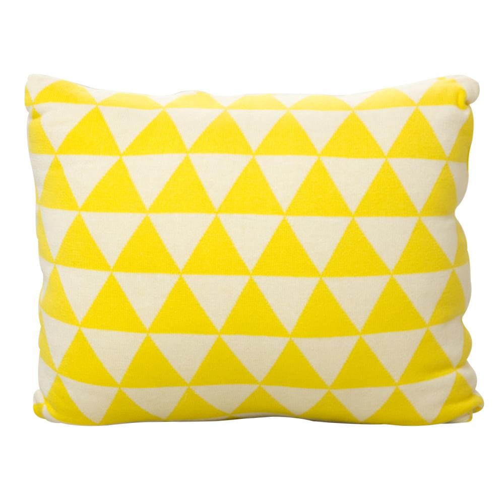 Almofada de tricô Triângulo Amarelo (45cm x 45 cm)
