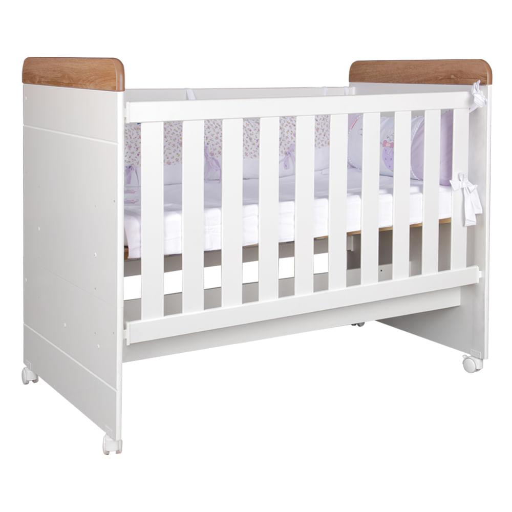 Berço Mini Cama Nuth Grade Fixa Castani/Branco Fosco - Berço mini cama Nuth Castani Branco Fosco