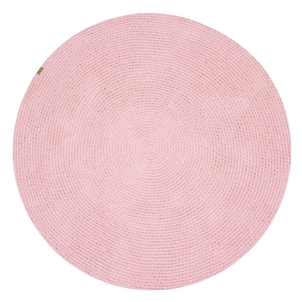 Tapete Crochê Redondo Rosa (120 cm) M²
