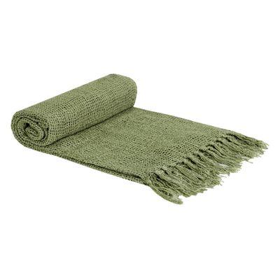 Xale Crochê Algodão Com Viscose Verde Oliva
