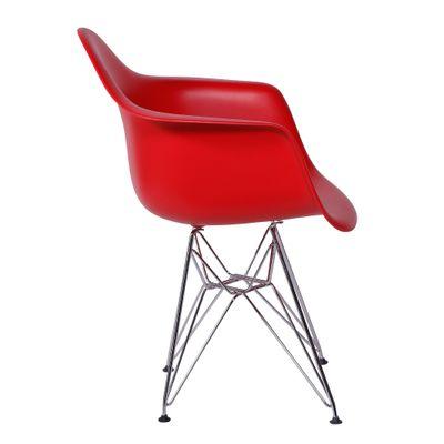 Cadeira Eiffel Com Braço Vermelha Base Cromada