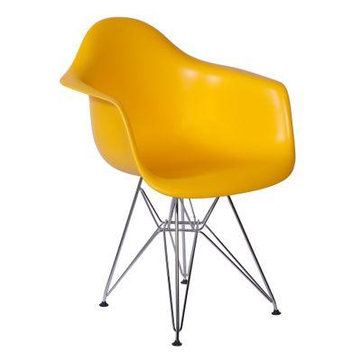 Cadeira Eiffel Com Braço Amarela Base Cromada