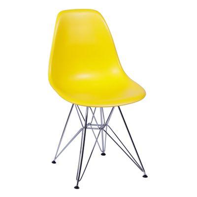 Cadeira Eames Eiffel Amarela com Pés Cromados