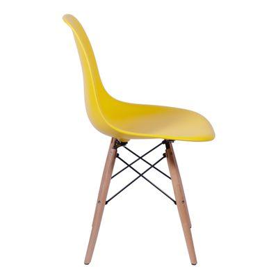Cadeira Eames Eiffel Amarela Pés de Madeira