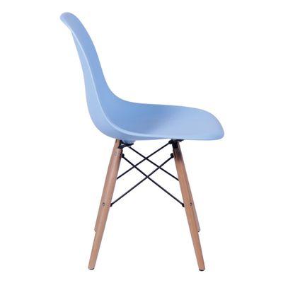Cadeira Eames Eiffel Azul com Pés de Madeira