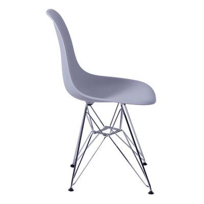 Cadeira Eames Eiffel Cinza com Pés Cromados