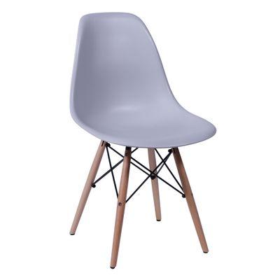 Cadeira Eames Eiffel Cinza com Pés de Madeira